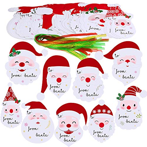 "Winlyn 45 Sets 9 Designs""from Santa"" Gift Tags Gift Labels with Ribbon Christmas Cute Smile Santa Cutouts Party Favor Tags Holiday Gift Name Tags Christmas Present Tags Treat Tags Hanging Santa Tags"