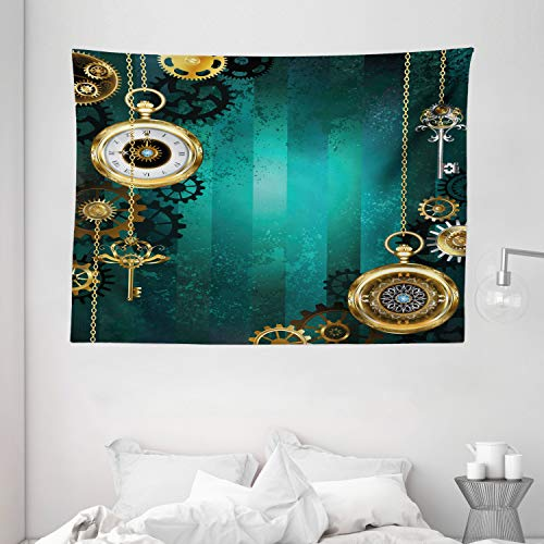 """Ambesonne Industrial Tapestry, Antique Items Watches Keys and Chains with Steampunk Influences Illustration, Wide Wall Hanging for Bedroom Living Room Dorm, 80"""" X 60"""", Green Gold"""