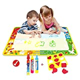 Big Magic doodle Mat/Water Drawing Painting Mat(40in x 29in)with 4 Color,Wholethings Magnetic Water Drawing Learning Painting Doodle Scribble Boards with Magic 3 Pen and Seal for Kids(Animal)