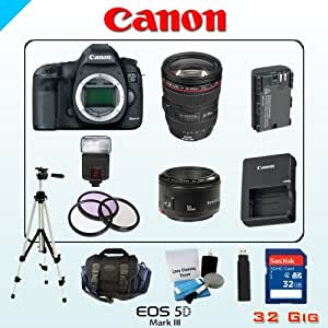 Canon 22MP EOS 5D Mark III Bundle - Includes Canon EF 24-105mm f/4 L IS USM Lens - Canon EF 50mm f/1.8 - 32GB SDHC Memory Card - USB Memory Card Reader - Spare LP-E6 Lithium Battery - 3 Piece Lens Filter Set - Digital Flash - Lens Cleaning Kit - Full Size Tripod - Carrying Case