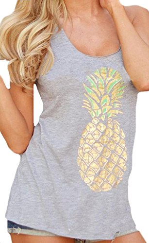 Sumtory Womens Pineapple Tank Top Gray - Tank Womens Top Pineapple