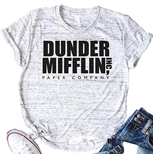 NENDFY Dunder Mifflin Inc Paper Company T Shirt Women's Letter Graphic Office Tees Short Sleeve Casual O-Neck Tops (Large, Grey)