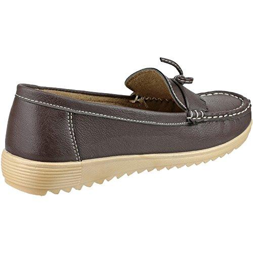 Slip Brown PU girls Amblers Ladies Amblers On Stylish Brown Loafer Summer Elba Lace wx76waT