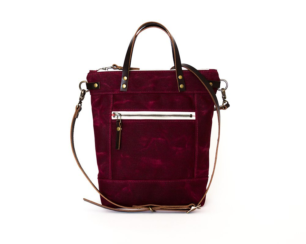 Merlot Purple Small Waxed Canvas Crossbody Handbag with Leather Strap and Solid Brass Hardware