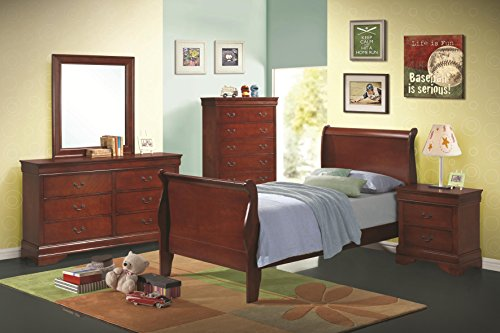 Contemporary Louis Philippe Youth Bedroom 4pc Set in Rich Cherry Classic Twin Size Sleigh Bed w Matching Dresser Mirror Nightstand (Louis Philippe Youth Bedroom)