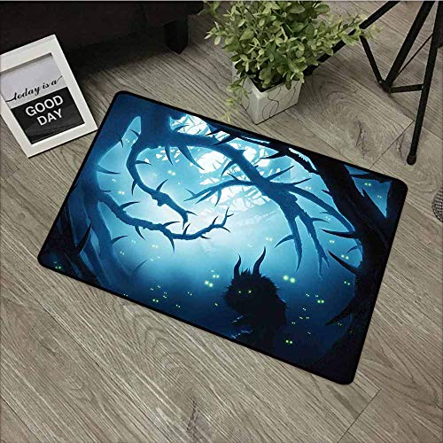 LOVEEO Custom Doormat,Mystic Decor Animal with Burning Eyes in Dark Forest at Night Horror Halloween Illustration,All Season Universal,24