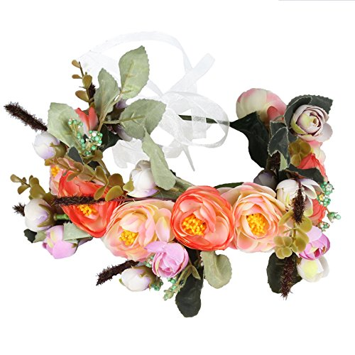 Vivivalue Rose Flower Crown Flower Garland Headband Hair Wreath Floral Headpiece Halo Boho with Ribbon Wedding Party Festival Photos Orange