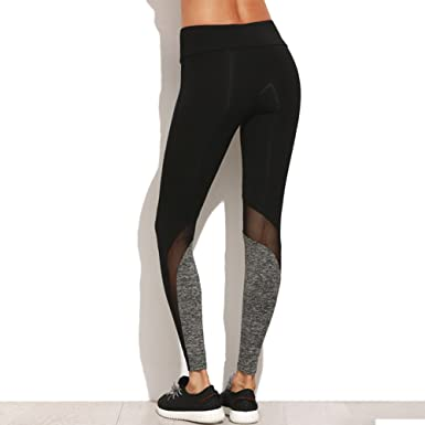 af73ea2d65db5 Hot Black And Grey Mesh Patchwork Yoga Leggings Sports Gym Yoga Pants -  Multi -: Amazon.co.uk: Clothing