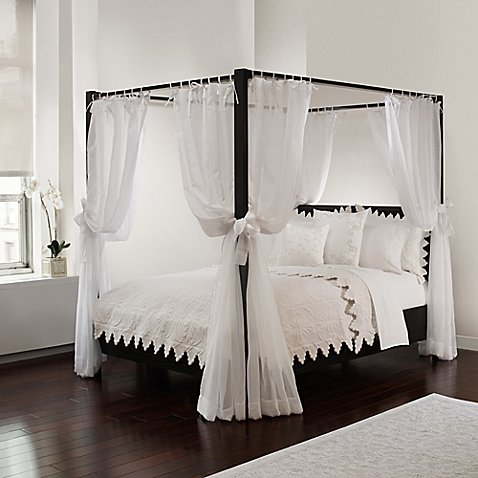 (Royale Linens Canopy Set with Top Ties and Tie Backs, White Sheer, for All Bed Sizes)