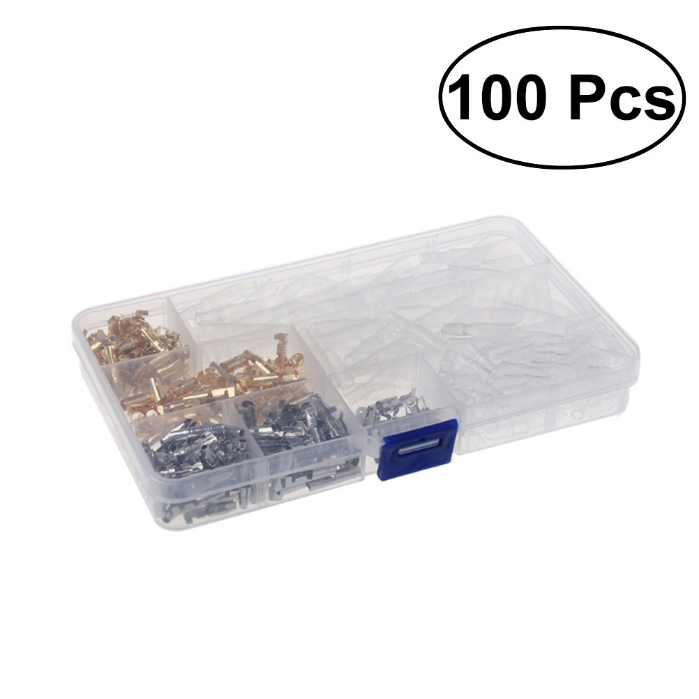 VORCOOL 100Pcs Dia 3.9mm Motorcycle Brass Bullet Connectors Male and Female Wire Terminals with Insulation Covers