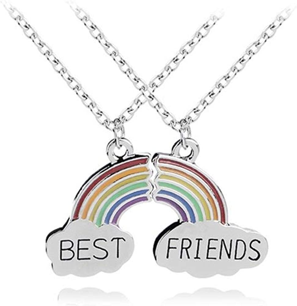 Rainbow Cloud Stitching Best Friends Pendant Necklace, AILUOR BFF Teen Forever Friendship Birthday Gift