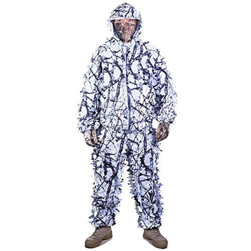 Camo Hunting Snow (Outdoor Camo 3D Snow Wild Zipper Ghillie Suit for Paintball Airsoft Hunting Wildlife Photography)