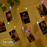 30 Leds Photo Clip String Lights, Indoor Dorm Bedroom Christmas Decoration Lights , USB Powered, 12 Ft, Multicolor, Ideal for Hanging Photos Pictures Cards and Memos By Ohbingo