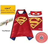 Superhero Unisex, Cape Red Satin with free Mask for kids - Party Costume (Superman) Leshco T