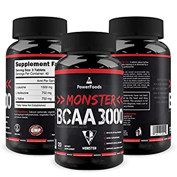 Monster Bcaa 3000 - 120 Tablets - Powerfoods - Concentrated Aminoacid For Muscle Recovery 0