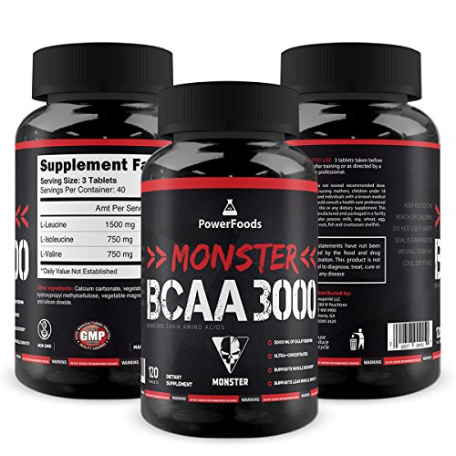 Monster BCAA 3000 - 120 Tablets - PowerFoods - Concentrated AminoAcid for Muscle Recovery