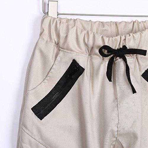 E Pantaloni Larghi Della Casuali Tuta Beikoard Uomo Da Con Beige Cerniera Rqw8Rzpd