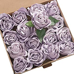 Ling's moment Real Touch Artificial Rose Flower 16pcs Lilac Peonies Real Looking Fake Peony w/Stem DIY Wedding Bouquet Centerpieces Reception Arrangements Party Baby Shower Home Décor 74