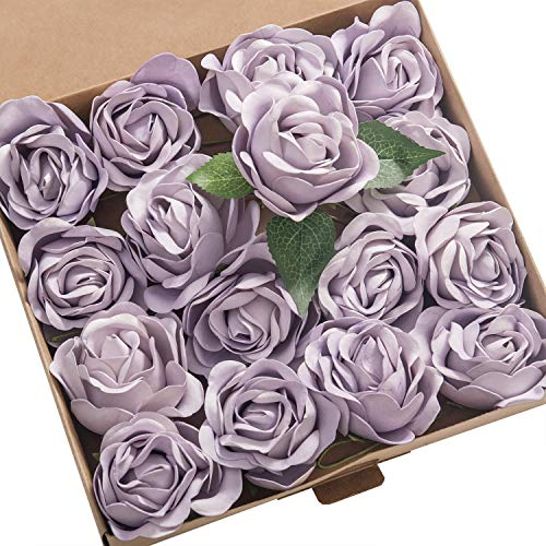 (Ling's moment Real Touch Artificial Rose Flower 16pcs Lilac Peonies Real Looking Fake Peony w/Stem DIY Wedding Bouquet Centerpieces Reception Arrangements Party Baby Shower Home Décor)
