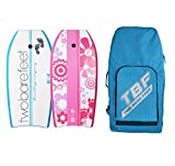 Two Bare Feet 41' Bodyboard Bundle - 2 x 41 Board Co/Flowers Bodyboards of your choice + Premium Double Carry Bag (Board Co (Blue)+Flowers (Rasp)+Blue Bag)