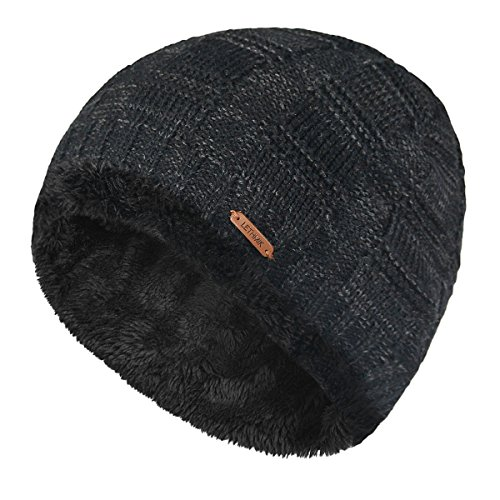 LETHMIK Unique Ribbed Knit Beanie Warm Thick Fleece Lined Hat Mens Winter Skull Cap Black