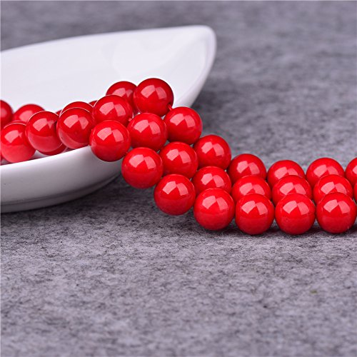 6mm Red Coral Beads Round Loose Gemstone Beads for Jewelry Making Strand 15 Inch (Real Coral Necklace)