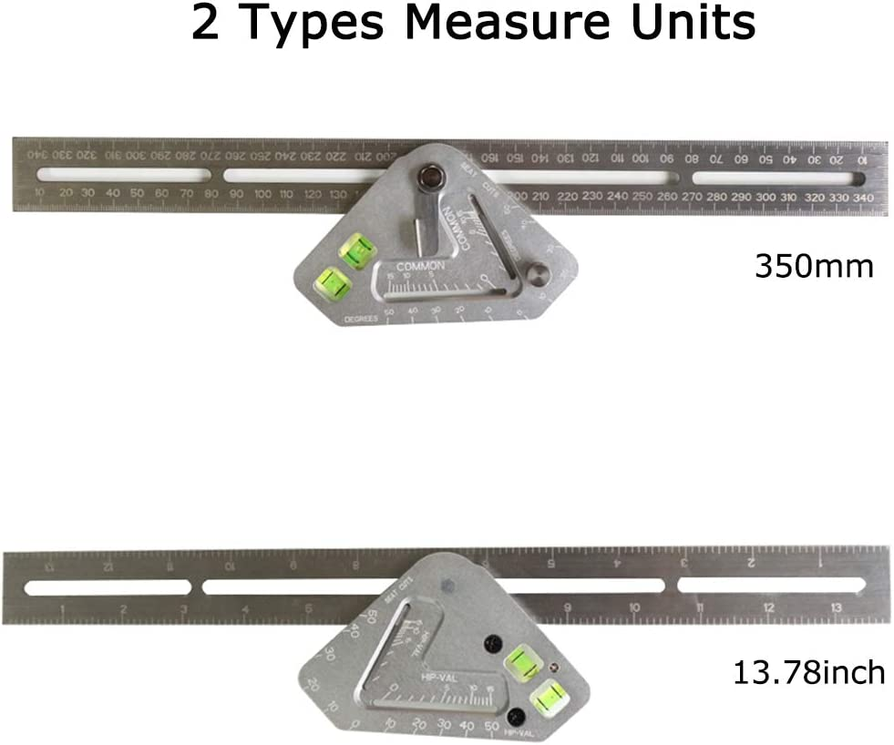 Angle Ruler KKmoon Angle Ruler Multi-function Revolutionary Carpentry Ruler Woodworking Measuring Tool T Ruler Aluminum Alloy Measuring Square Ruler