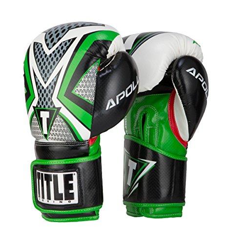 TITLE Boxing Infused Foam Apollo Training Gloves (Green, 14 (Title Boxing Foam Boxing Gloves)