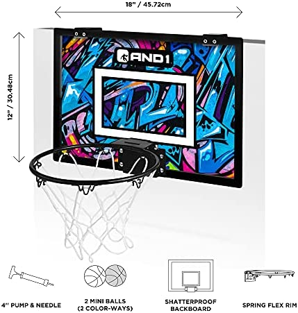 "18""x12"" Mini Basketball Hoop Over the Door Portable AND1 Indoor Basketball Hoop"