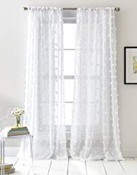 DKNY Ella Sheer Window Curtain Panel Pair, 50 x 84 inch, White