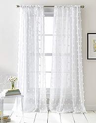 DKNY Ella Sheer Window Curtain Panel Pair, 50 x96 inch, White