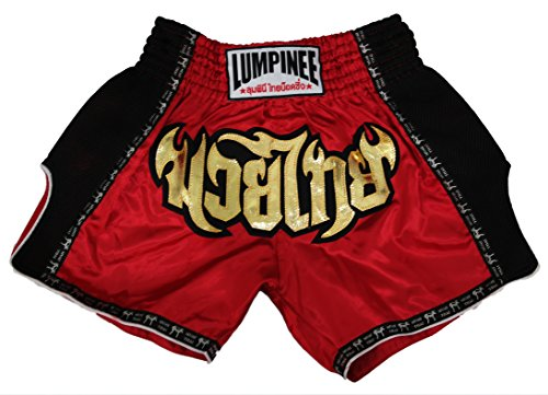 Lumpinee Retro Original Muay Thai Shorts for Kick Boxing Fight LUMRTO-010 (M, Red)