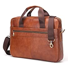 Contacts Genuine Men's Cowhide Leather Messenger Bag Briefcase Fit 14 Inch Laptop