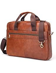 Contacts Genuine Leather 14 Mens Messenger Shoulder Bag Laptop Briefcase Brown