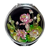 Mother of Pearl Pink Lotus Flower Design Double Magnifying Compact Cosmetic Makeup Hand Mirror, 3.2 Ounce