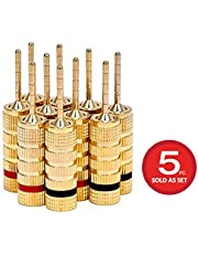 Monoprice 109438 High Quality Gold Plated Speaker Pin Plugs - 5 Pairs - Pin Screw Type, For Speaker Wire, Home Theater, Wall Plates And More