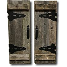 Barn Wood Rustic Decorative Shutter Set of 2 With Hinges