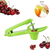 Manual Cherry Pitter Tool, Cherry Pitter Or Stoner with Silicone Cup, Space-Saving Lock Feature, Home Kitchen Gadget with Orange Citrus Peelers