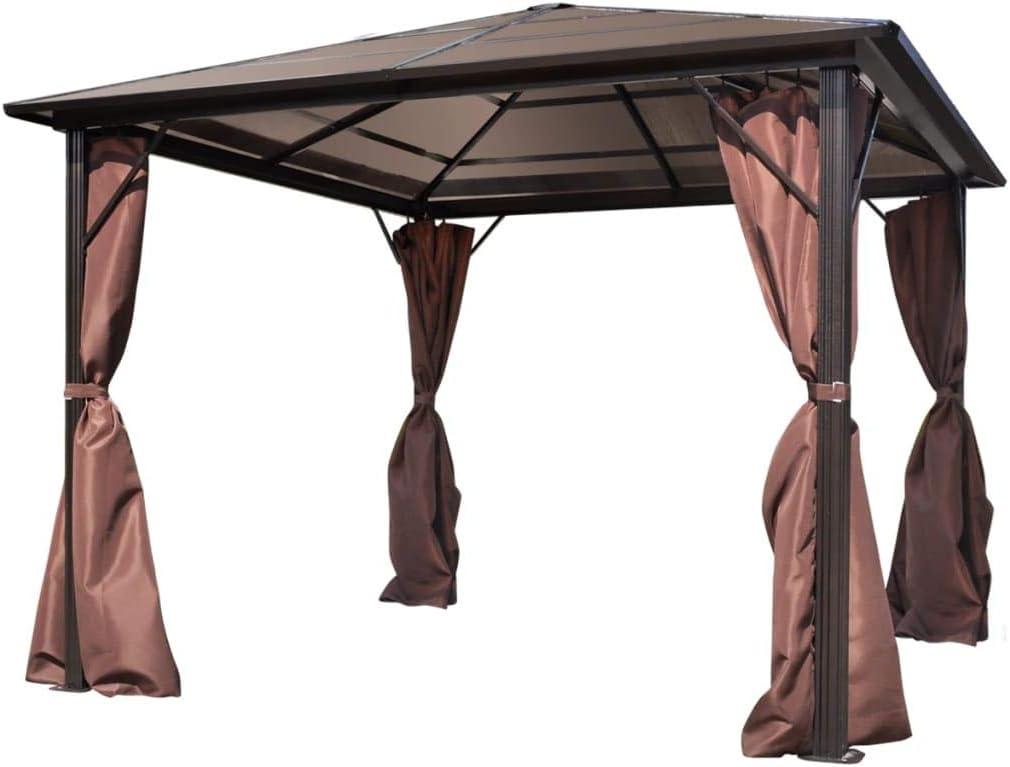 vidaXL Cenador de Jardín con Cortinas Carpa Patio Exterior Terraza al Aire Libre Balcón Cubiertas Protección Paraguas de Aluminio Marrón: Amazon.es: Hogar