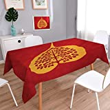 Angoueleven Leaf Dinner Picnic Table Cloth Artistic Design of Bodhi Tree Nature and Religion Yoga Meditation Waterproof Table Cover for Kitchen Vermilion Ruby and Marigold size:52''x70''