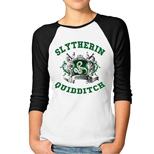 ElishaJ Women's Raglan 3/4 Sleeve T-Shirt Slytherin Quidditch Black Size S (Baseball Tin Puzzle)