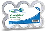 Crystal Clear Packing Tape (6 Pack) - ShipQuick Packaging Tape for Industrial & Professional Shipping. Great for Moving. Strong Adhesive Shipping Tape That's Split-Resistant! (6 Pack, Crystal Clear)