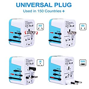Zoppen International Travel Adapter 4 USB Charging Port Smart Wall Charger, All-in-one Universal Plug (US/JP UK EU AU/CN) w/ Worldwide Outlets & AC Socket - Surge Protector, Blue / White