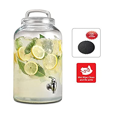 Emenest Glass Beverage Dispenser with Spigot and Loop Lid - with Write'n'Wipe Chalkboard Label to Personalize (2.25 Gallon)
