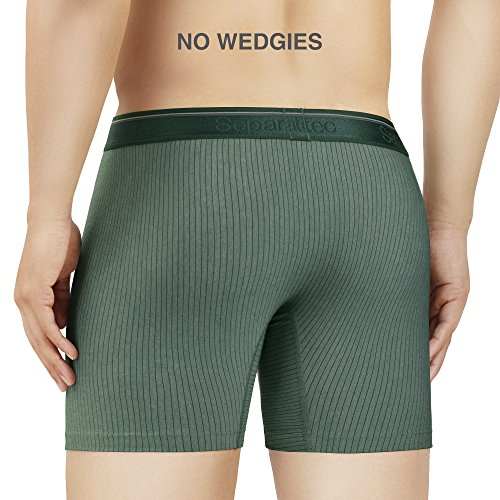 Separatec Men's 3 Pack Fast Dry Lightweight Striped Pouches Boxer Briefs(Black,Moonlight Blue, Olive Green,M) by Separatec (Image #3)