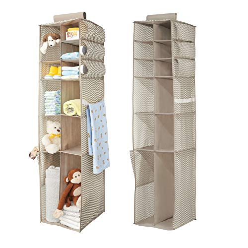 mDesign Fabric Hanging Baby Nursery Storage Organizer for Clothing, Blankets, Diapers - Pack of 2, 16 Compartments, Taupe/Natural by mDesign