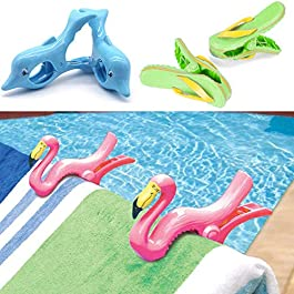GEEZY Set of 2 Plastic Sun Lounger Beach Towel Novelty Wind Clips Sunbed Pegs Pool Towel Clips (6 Pcs – 2 x Dolphin, 2 x Flamingo, 2 x Flip-Flop Clips)