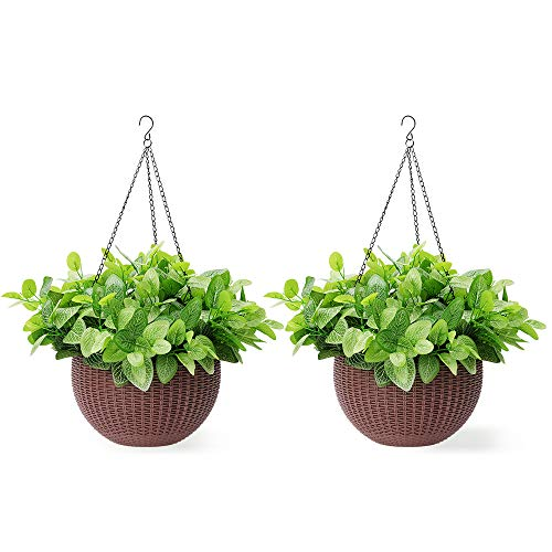 Homes Garden 10.5 in. Dia Plastic Rattan Hanging Planter Brown (2-Pack) Flower Plant Hanging Basket for Home Office Garden Porch Balcony Wall Indoor Outdoor Decoration Gift #G727A00
