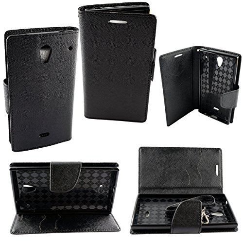 (Mstechcorp - Huawei Tribute Y536 (AT&T) - Wallet Case,PU Leather Case,Cut,Credit Card Holder,Flip Cover Skin Credit ID Card Slot Holder Phone - Includes Free Touch Screen Stylus (WALLET BLACK))