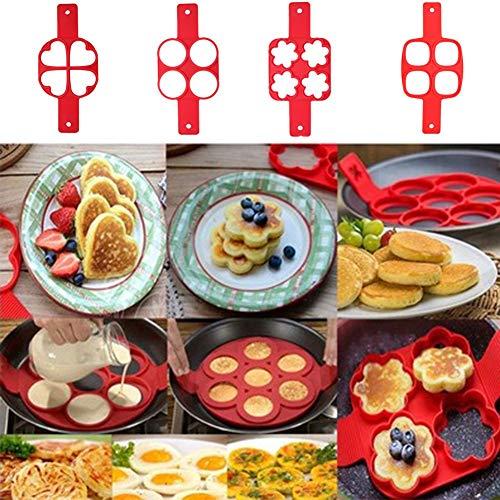 PAPWOO Pancake Maker Non-stick Reusable Silicone Egg Mold Ea